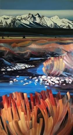 "Portal - Sawtooths 88""x48"" oil and wax on linen"