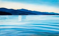 "Priest Lake Morning - 30""x48"" Oil and wax on panel, 2014"