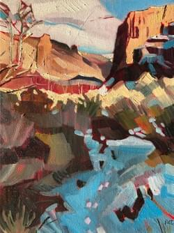 "Purjue Canyon in the Owyhees 10""x8"" oil and wax on canvas 2017"