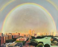 "Rainbow Over New York 48""x60"" oil and wax on linen"