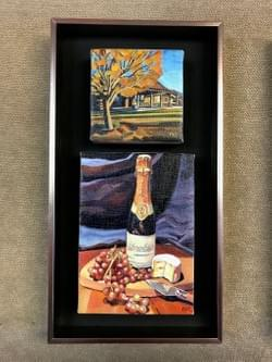 "Schramsberg Bottle ""10x8""  / Ranch ""4x4"" oil and wax on linen"
