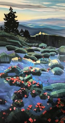 "Portal - Summer Solstice on Shafer's Butte 88""x48"" oil and wax on linen"