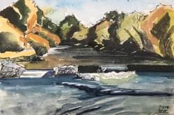 "Whitewater Park Boise tinyExpanse postcard ""4x6"" watercolor"