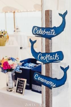 Galley Beach Wedding, Nantucket Island.  Signage by Jean Cawley, photograph by Zofia & Co. Photography.
