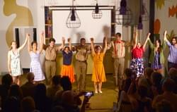 "Sold out final show of ""Of Thee I Swing,"" performed at Wright Bros. Brew & Brew in September 2019. Left to right: Stephanie Patrick, Mia Moi, Jairus Carr, Michelle Barfield, Jaylin Lane, Rachel Nayer, Daniel Broxton, Lauren Parra, Andreina Byrne, Ben Lee."