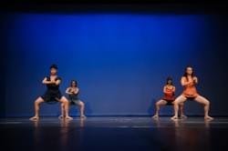 """Hide & Seek"" performed in San Mateo, California 2015. Dancers left to right: Tiffany Tonel, Seren Pendleton-Knoll, Courtney  Armani, Dana Roy."