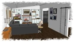 Transitional and Inviting Family Living Room / SketchUp Rendering / Arlington VA