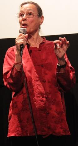 Yvonne answers questions at the DocNYC screening