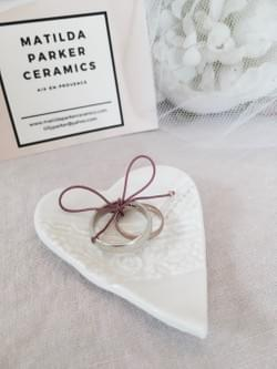Antique lace embossed porcelain heart wedding ring dish with gold embellished twine