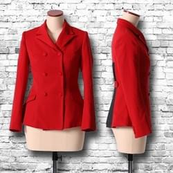 """Pleats"" double-breasted jacket / red"