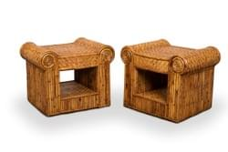 Pair of Rattan Nightstands, France, 1970's
