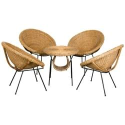 Rattan set of scoop chairs and table, France, 1960's