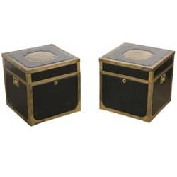 Pair of Leather and Brass Trunk Tables