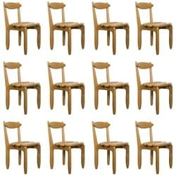 Set of 12 chairs by Guillerme et Chambron