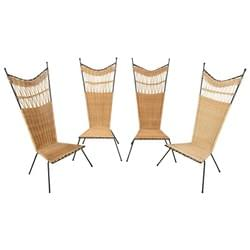 Set of 4 metal and wicker slipper chairs.