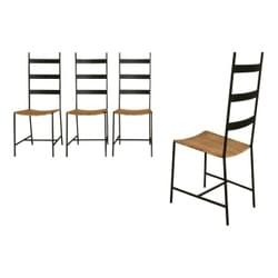 Set of Four Metal and Cane Chairs