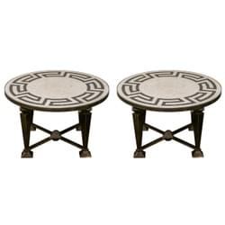 Pair of Neo-classical mosaic top tables on metal base.
