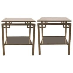 Pair of Guy Lefevre two-tiers tables