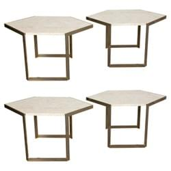 Set of 4 metal and travertine tables, Italy, circa 1970 .