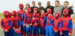 The Spiderman Cast was in town to help us build owl habitat!