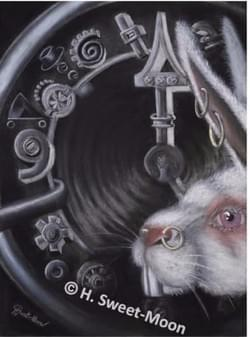 Original painting. White rabbit (Wonderland series)