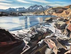 "Salmon River and Sawtooth Mountains. Oil and wax on linen, 36""x48"""