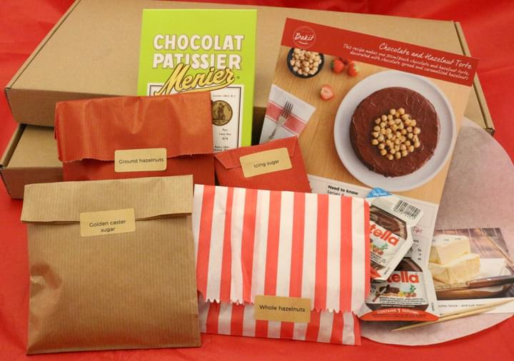 Contents of a Bakit baking kit for a chocolate and hazelnut torte
