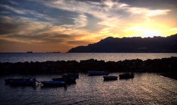 Sunset in the beautiful city of Salerno: the gateway to the Amalfi Coast