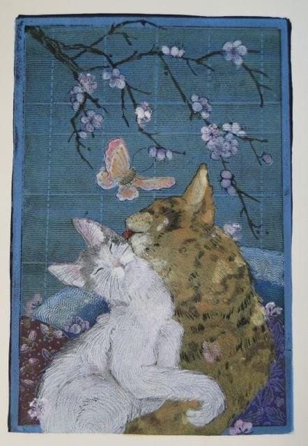 """Butterfly"" Chinese brush painting on rice paper 11""x18"" $125.00 In an effort to save water, we replaced our front lawn with large boulders and native plants. Our cats and butterflies all love the arrangement. It has inspired many paintings."