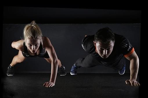 two people training image