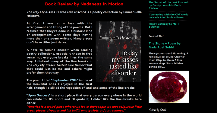 Screenshot of a four-star book blog review for The Day My Kisses Tasted Like Disorder by Emmanuella Hristova
