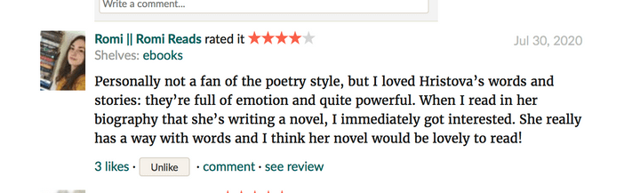 Screenshot of a four-star Goodreads review for The Day My Kisses Tasted Like Disorder by Emmanuella Hristova