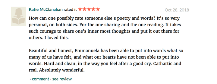 Screenshot of a five-star Goodreads review for The Day My Kisses Tasted Like Disorder by Emmanuella Hristova