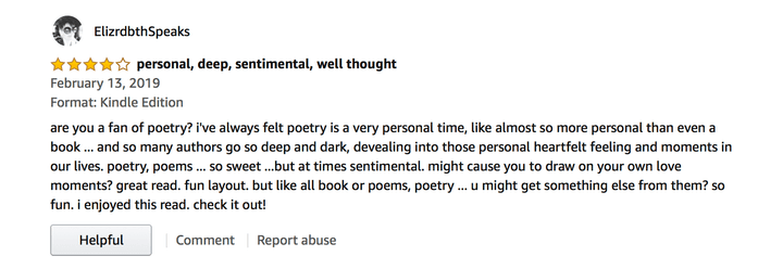 Screenshot of a four-star Amazon review for The Day My Kisses Tasted Like Disorder by Emmanuella Hristova