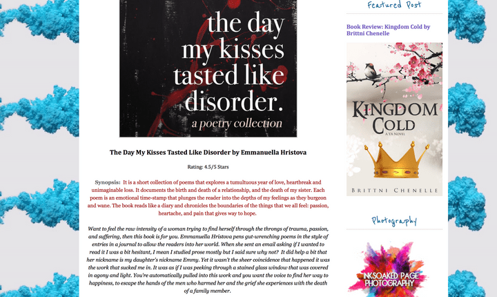 Screenshot of a 4.5-star Amazon review for The Day My Kisses Tasted Like Disorder by Emmanuella Hristova