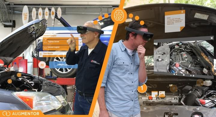 Veteran mechanic using augmented reality technology to train new hire