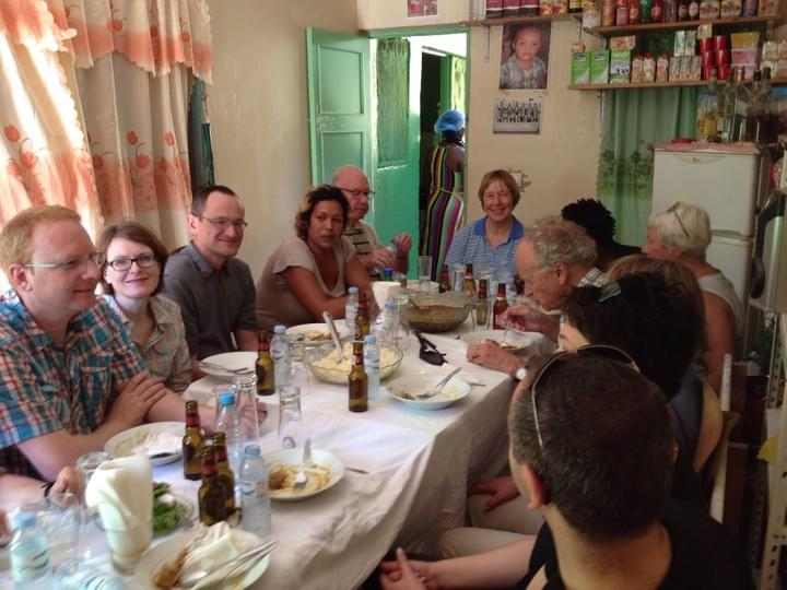 Group of German guests enjoying Filo's cachupa
