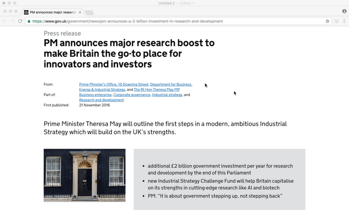 UK Government press release: PM announces major research boost