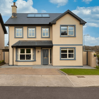 Property Description Colbert & Co Estate Agents Midleton are delighted to bring this immaculate 4 bedroom detached home to the open market. Located in Dealg Ban, Ladysbridge this property sitting proudly on a corner site overlooking the green area, has everything you require for a growing family. Ladysbridge is a 10 minute drive from Midleton town and has a host of amenities close by including the award winning Castlemartyr Resort, Golf and Spa. You also have a church, shop, petrol station and local bar just a short walk away in the village itself. Garryvoe beach is only 5 minutes in a car along with some beautiful forestry walks close by. Of course we can€TM discuss Ladysbridge without mentioning the now famous All Ireland Club finalists Fr.O€TMeills GAA who have their facilities in the village meaning plenty of outdoor activities for everyone in the family.  Built in 2015, the property is extremely efficient with fitted solar panels for your hot water meaning a very high A3 Building Energy Rating (BER). The interior is finished to a standard usually seen in show houses. There is so much to admire in this home from its floating gas fire, the clever use of under stair storage and its wonderful fitted kitchen. This home is exceptionally finished yet there is still a warm family feel throughout. In total you have 3 living spaces on the ground floor with one being well capable of being turned into a bedroom if required as it has a very clever corner fitted wardrobe in situ.  Upstairs has 4 great size bedrooms with lush carpet flooring in all. The master bedroom has fitted slide robes and a very well finished ensuite with floating fitted shelves. There is a fitted stira on the landing with access to a fully floored attic for extra storage. The beautiful modern lighting hanging in the landing only compliments the long vertical gable window leaving light flow through the property.  Outside to the front you have ample space for 2 cars to comfortably fit and dual access to the rear garden. Here you have a patio area off the double doors of the conservatory which is also equipped with outside power point. There is a shed which is staying with property large enough to store all the bikes and a bedded area perfect for planting your own fruit & veg. The aspect of this garden means you will have all the evening sun making a perfect home inside AND out.  Viewing comes highly recommended. Virtual tour on request