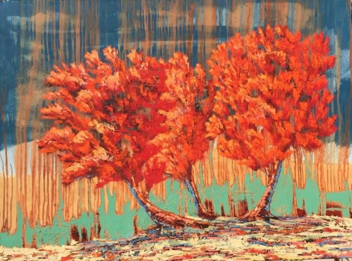 Red Tree Trio 36x48 oil on gallery wrapped canvas