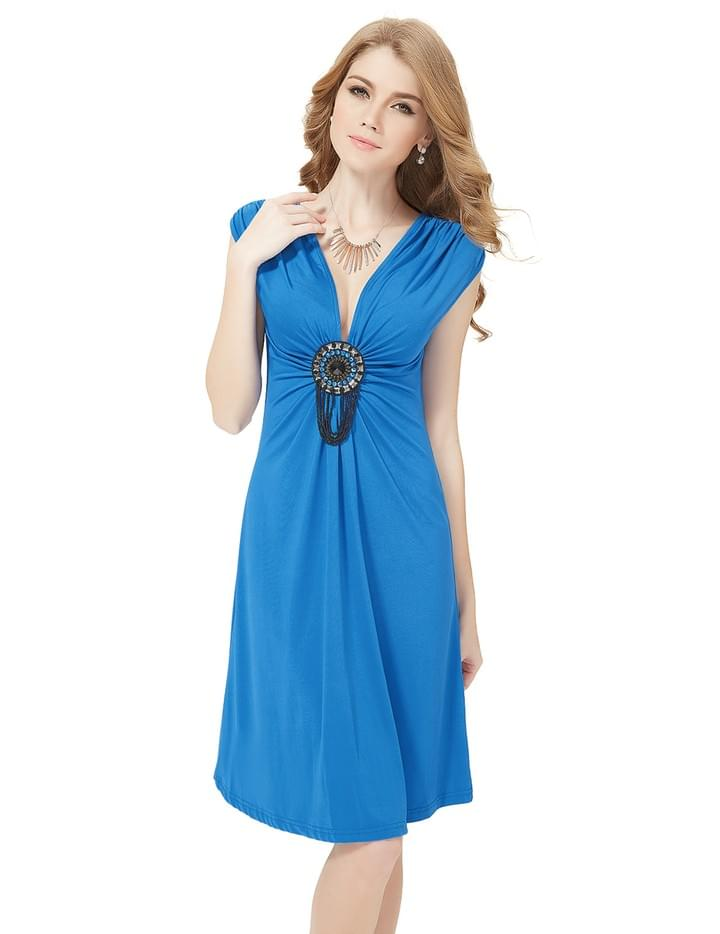 "○ DESCRIPTION ▸ Incredibly comfortable Satin dress ▸ Adjustable stretchy straps ▸ Sexy ""V"" shaped neckline with cross over chest ▸ Elastic band sewn back of inner side dress for easy fitting"