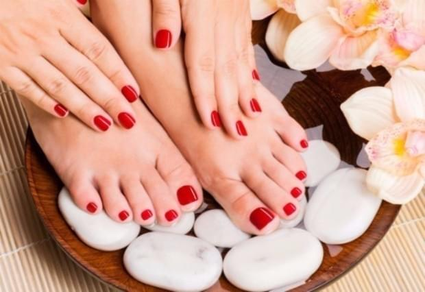 Manicure and Pedicure at home with hot stone massage.