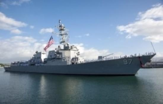 DDG 51, American Flag, Battle Ensign, USS Halsey, Sleek warship,