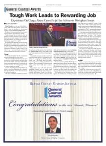 Chad Franks Orange County Business Journal General Counsel Award