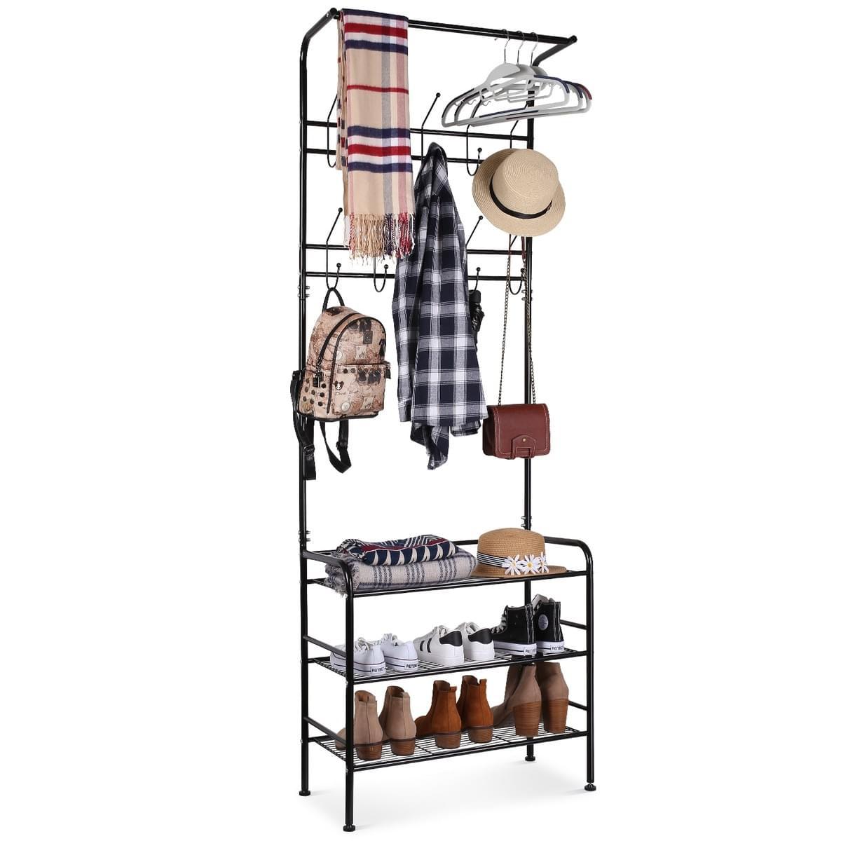 Picture of: Homfa Metal Entryway Coat Shoe Rack 3 Tier Shoe Bench With Coat Hat Umbrella Rack 20 Hooks Black