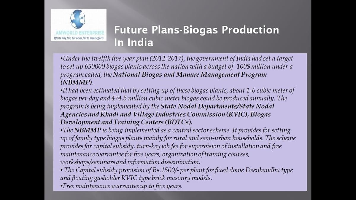 Future Plans- Biogas Production in India
