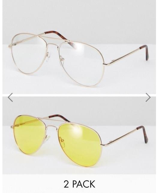 Asos 2 pack aviator sunglasses