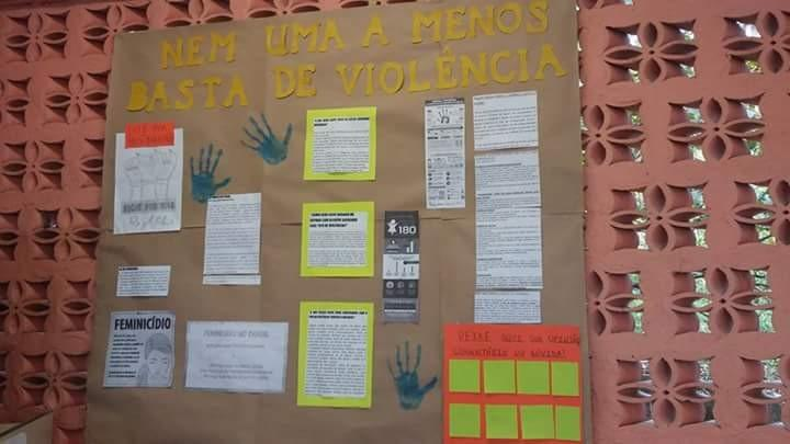 We make posters in school, to show what do in cases of violence against women.