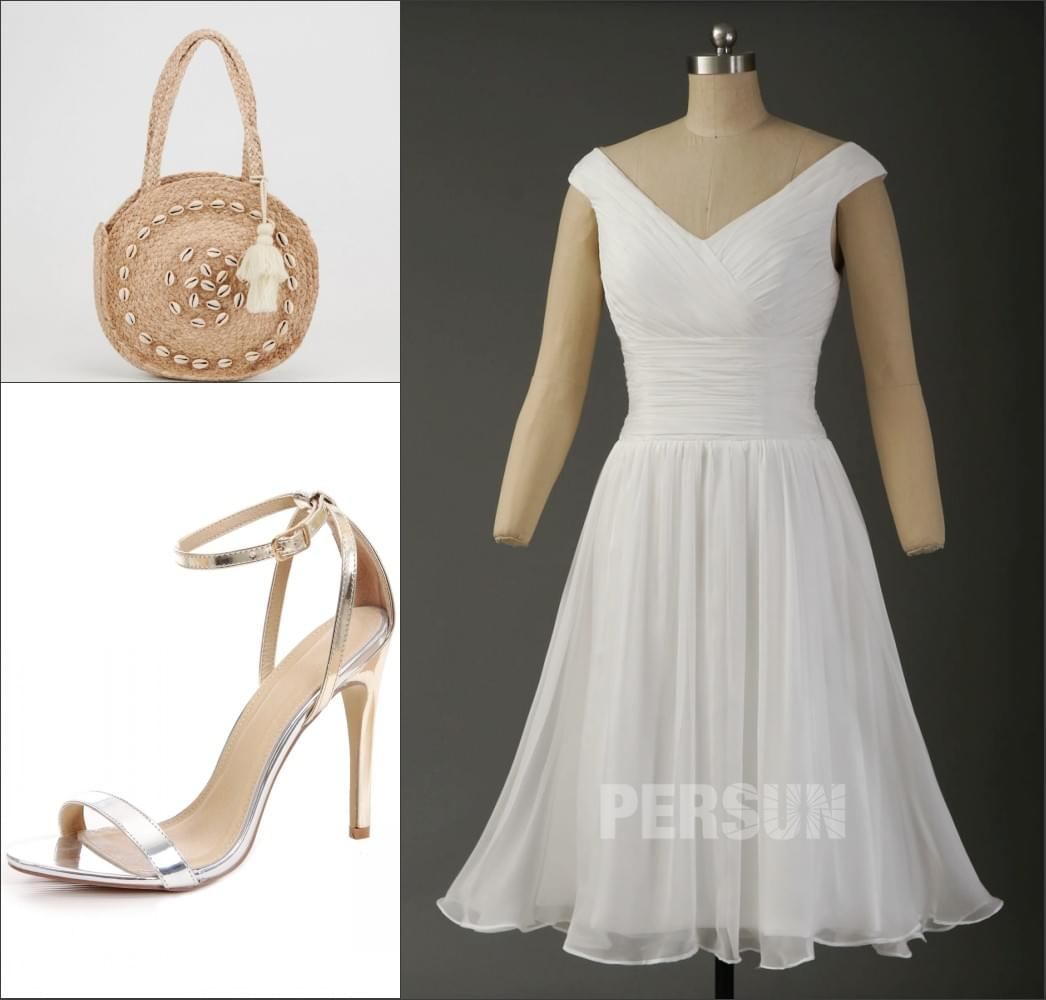 robe de soirée courte simple blanche bustier plissé col v taille serré