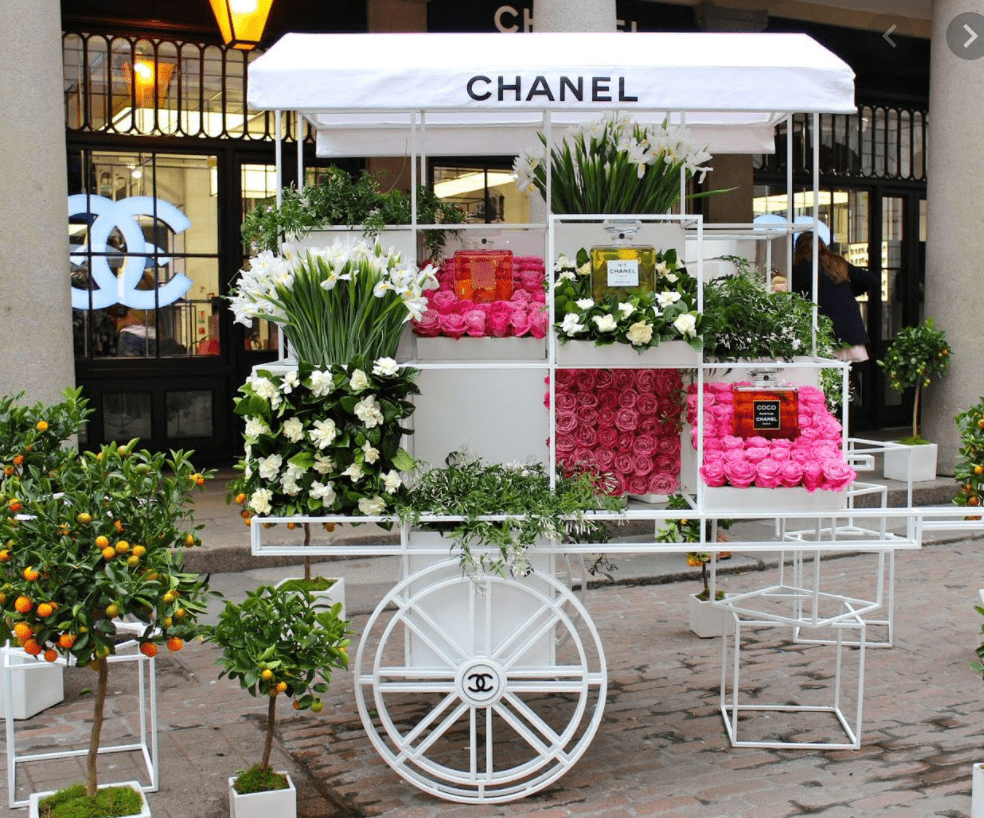 Claire Rathbun Dallas Event Florist Chanel Branded Flower Cart